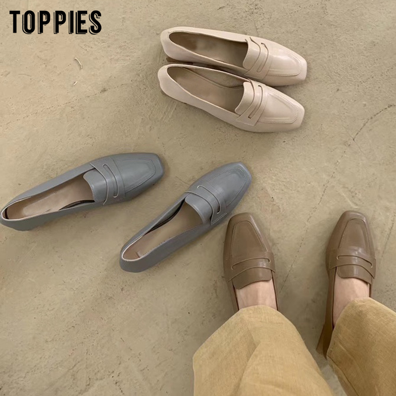 Toppies Women Low Heels Faux Leather Shoes Vintage Ladies Office Shoes Korean Fashion