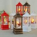 2021 New Christmas Ornament LED Lamp Desktop Hanging Santa Claus Elk Lantern Xmas Home Party Decoration Prop Lights Kids Gift