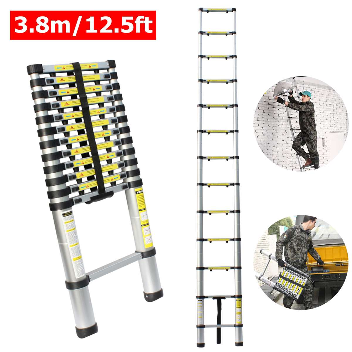 3.8m12.5ft Aluminum Multi-Purpose Extention Ladder Telescopic Stepladders Lightweight Portable Household outdoor 330lbs