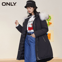 ONLY Women Casual Fur Collar Hooded Long Down Jacket Coat|119412504