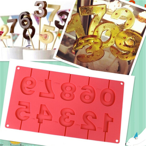 0-9 Numbers Shape Lolli Silicone Mold 3D Hand Made Sucker Sticks Chocolate Cake Jelly Candy Mold With Sticks Party Decoration