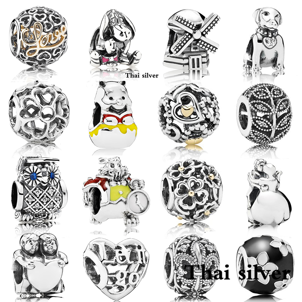 2019 NEW Thai Silver Retro WINDMILL Cute Dog Leaves Dancing Couple PrimroseDetails GRADUATE Daisy Bear Beaded Charm Collection