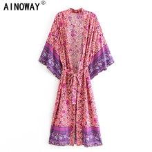 Vintage chique feminino rosa floral impressão faixas boêmio quimono senhoras v pescoço batwing mangas boho maxi vestido robe