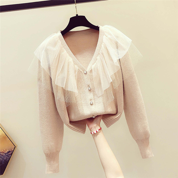 Ailegogo New 2020 Spring Fall Women's Sweaters Single Breasted Mesh Patchwork V-Neck Casual Knitted Fashion Wild Tops SWC1973 6