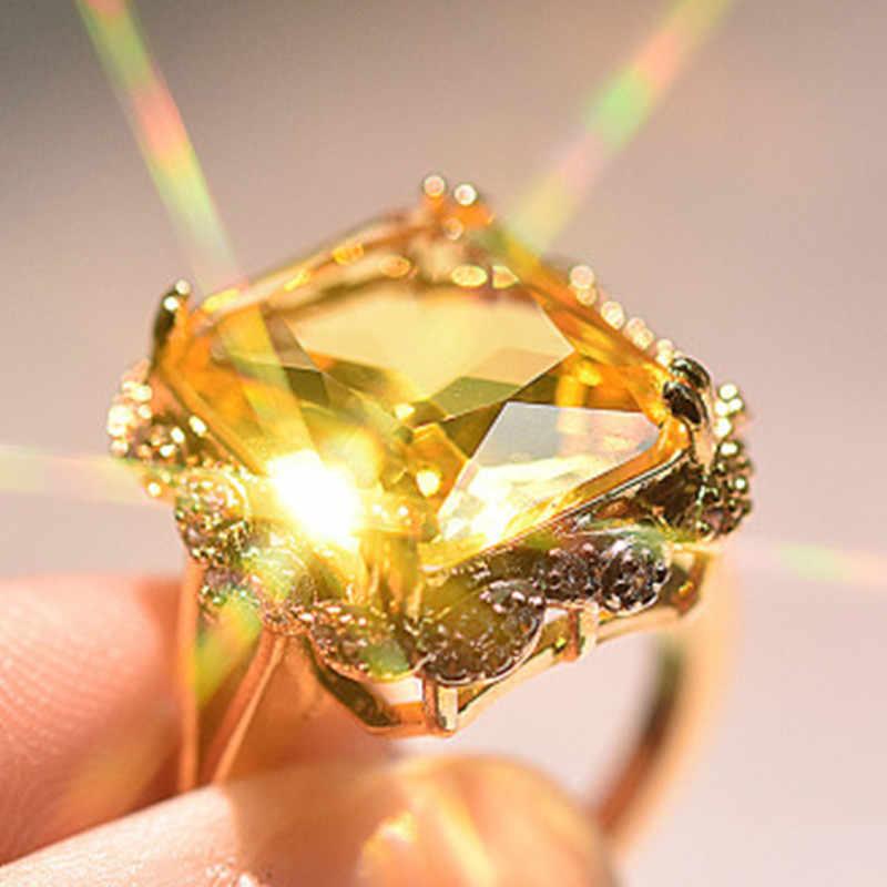 2020คริสตัลหมั้นแหวนผู้หญิงแชมเปญBig Zirconแหวนผู้หญิงเครื่องประดับVintage Goldyellowแหวนหญิงของขวัญใหม่