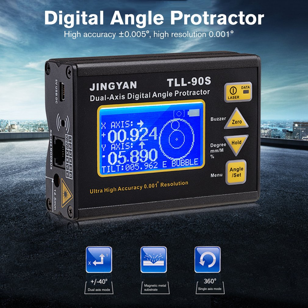 TLL-90S High Precision Laser Level Gauge LCD Display Angle Meter 0.005 Dual-axis Digital Laser Level Inclinometer