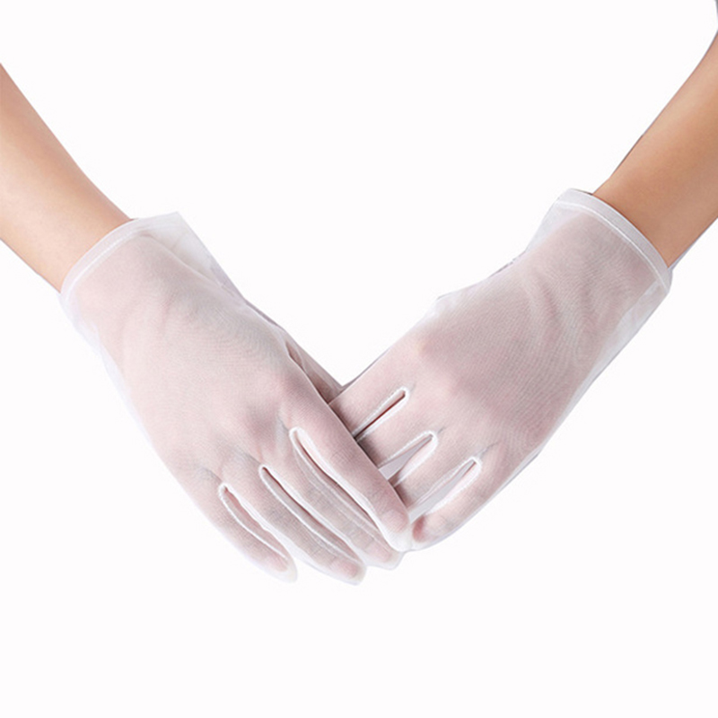 Women White Sexy Lace Sunscreen Gloves Summer Spring Long Solid Black Transparent Elastic Anti-UV Driving Opera Gloves