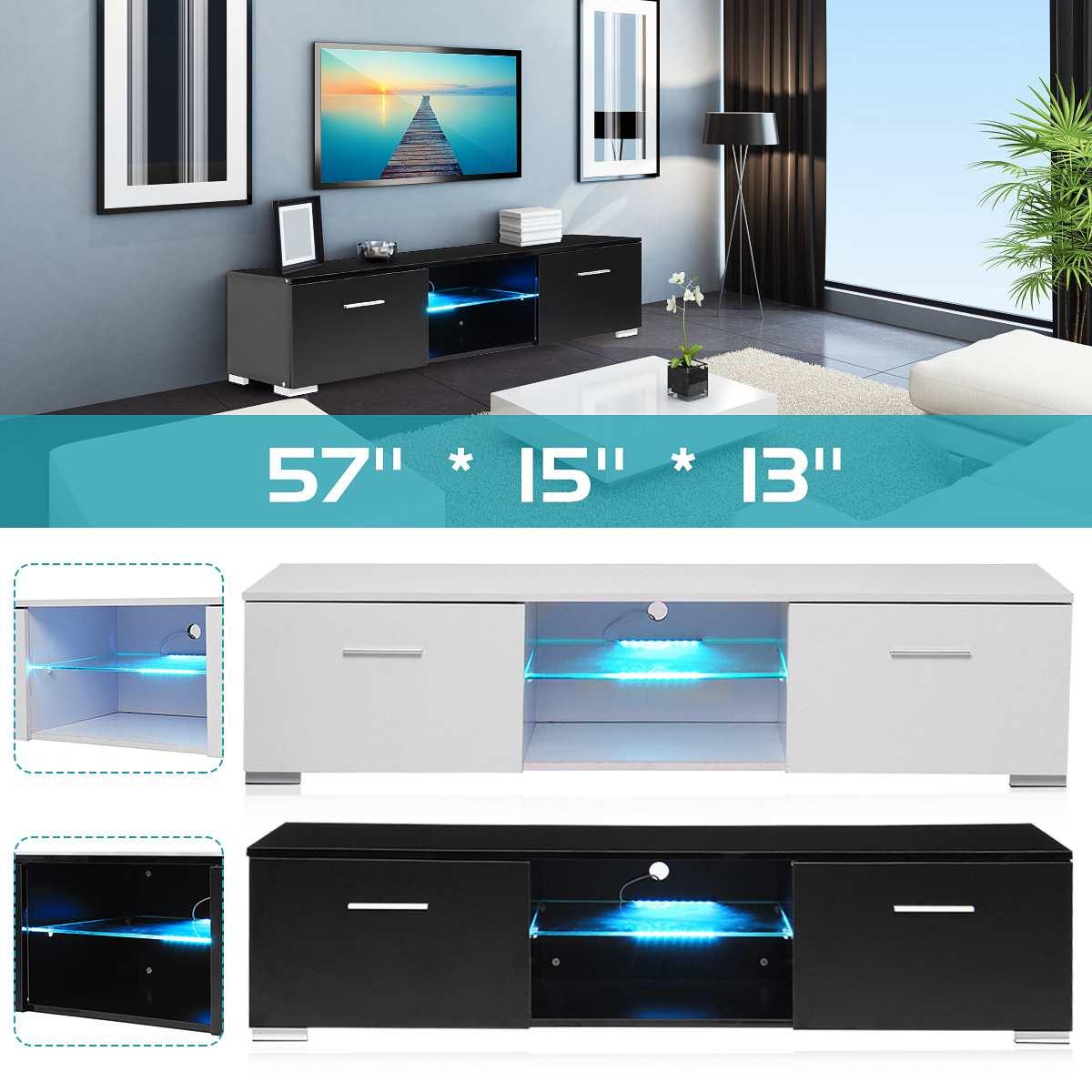 black tv unit cabinet stand led light