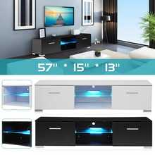 White/Black TV Unit Cabinet Stand LED Light High Gloss Table Living Room Meuble TV Bedroom Furniture Desk TV Stands US(China)