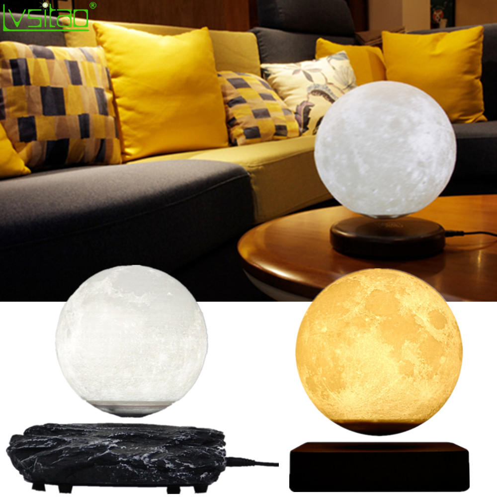 3D Magnetic Levitating Moon Lamp Night Light 15cm Rotating wireless Led  Moon Light Floating lamp novelty gifts home decorations