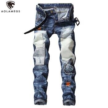 цена на Aolamegs Jeans Men Patchwork Color Block Patch Harajuku Fashion Hip Hop Style Denim Advanced Cozy Autumn Casual Jeans Streetwear