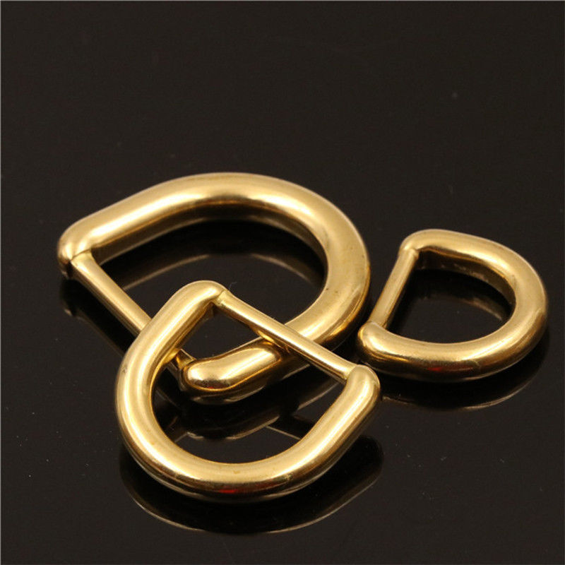 Solid Brass Rectangle Loop Square D Ring Buckle Bag Luggage Belt Keeper Accessor