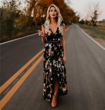 Europe And America Women's Dress 2019 New Style Irregular Swallow Tail Long Skirts Hollow out Backless Floral Printed Dress(China)