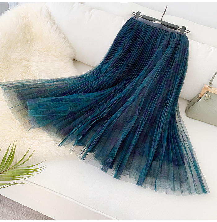 H36e966d7501e47ec92d71fc7c42d123az - TIGENA Green Red Long Plaid Tutu Tulle Skirt Women Fashion New Elegant A Line High Waist Pleated Maxi Skirt Female Ladies