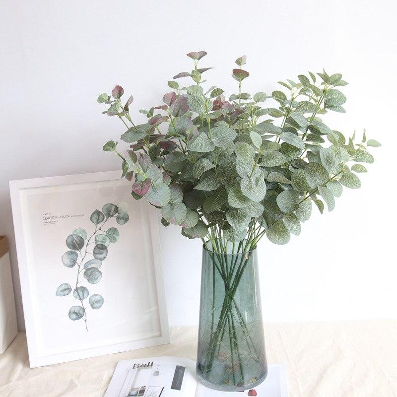 Искусственные листья эвкалипта, стебли ветвей, зеленые шелковые растения, орнамент для «сделай сам», свадебная стрельба, реквизит, товары д...