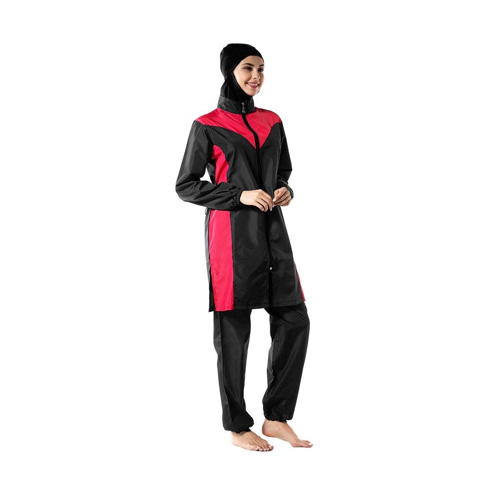 Women's Plus Size Swimwear Fashion Islamic Beachwear Muslim Swimsuit Trousers Hijab Hooded Burkinis Temperament Elegant