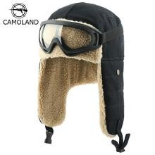 Зимние шапки-бомберы, ушанки, русская ушанка с очками, Мужские Женские шлемы, шлем летчика из искусственного берберского флиса, теплые зимние шапки