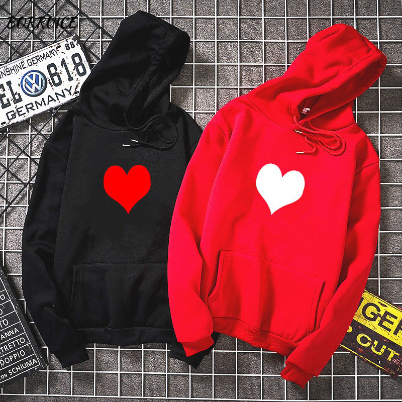 Fashion Womens Autumn Winter Hoodies  Fleece Heart Print Harajuku Pullover Loose Lover Hoodies Sweatshirts Couple Casual Coat
