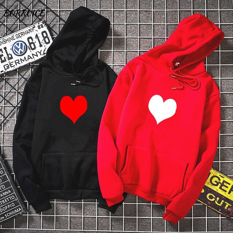 Fashion Womens Autumn Winter Hoodies  Fleece Heart Print Harajuku Pullover Loose Lover Hoodies Sweatshirts Couple Casual Coat