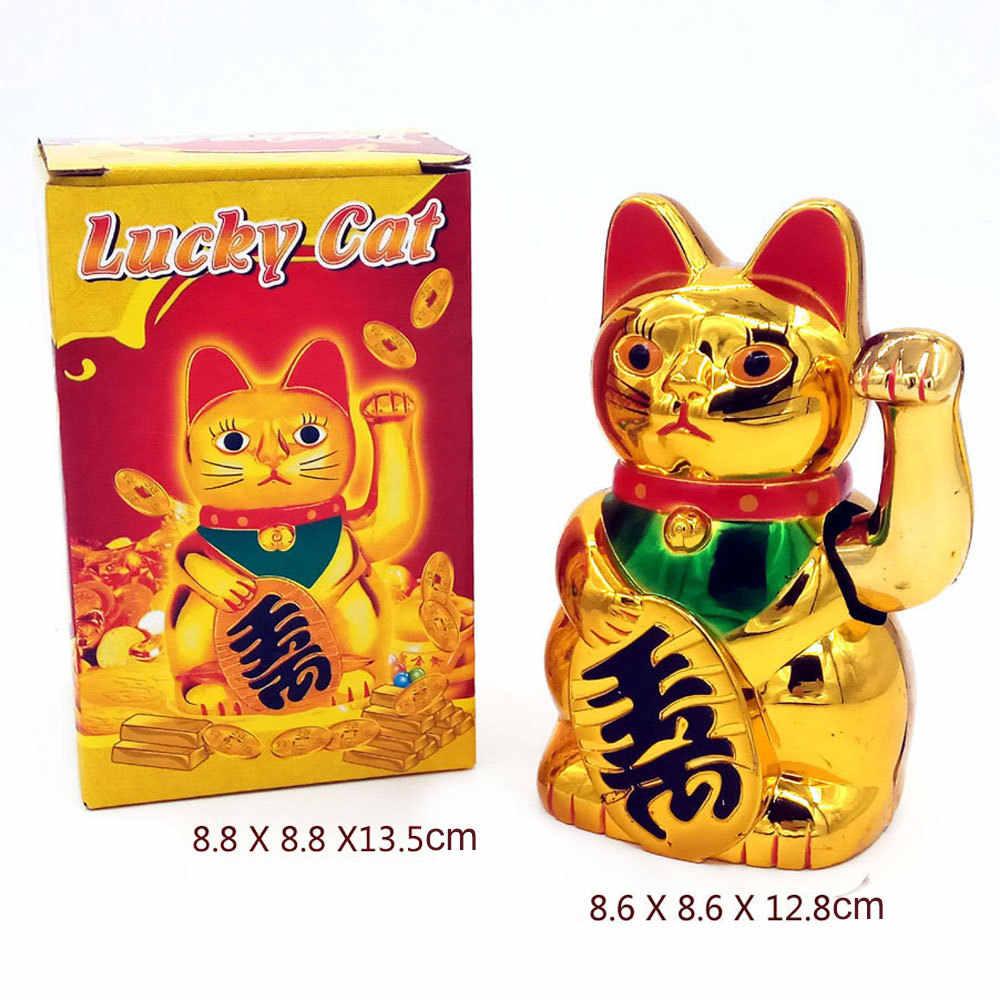 Chino suerte gato riqueza mano que saluda gato oro Maneki Neko hogar FengShui decoración Bienvenido gato de la tienda de arte decoración del Hotel