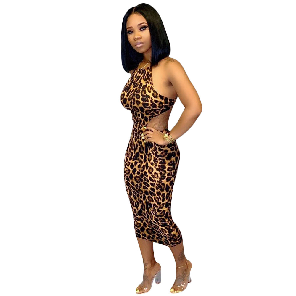 Sexy Cross Backless Leopard Dress Women Spaghetti Strap Waist Band Cut Out Bandage Dress Bodycon Party Maxi Package Hip Dress