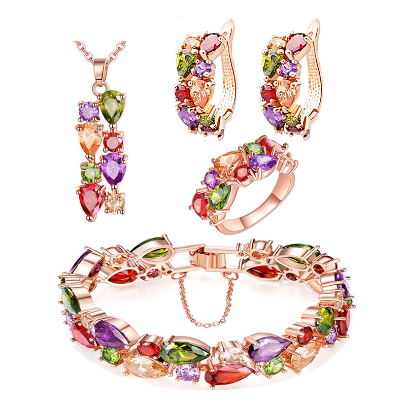 Rose Gold MultiColor Topaz Amethyst Peridot Bridal Jewelry Sets For Women Earrings/Pendant/Necklace/Ring/Bracelet Gift Box