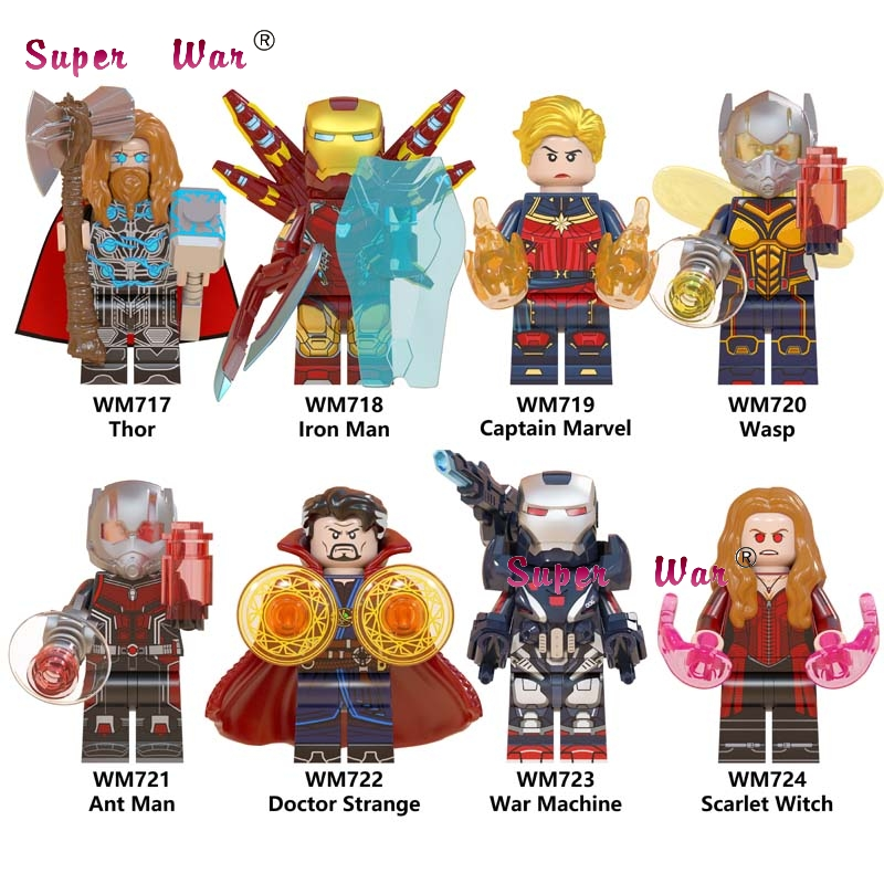Kids Toys Building-Blocks Doctor Strange Thor Captain Marvel War-Machine Endgame Single-Avengers