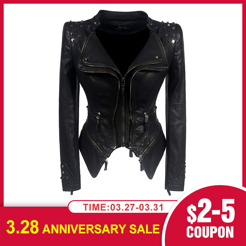 2020 Coat Motorcycle Jacket Women Winter Autumn Black Fashion Outerwear Faux Leather PU Jacket Female Gothic Faux Leather Coats