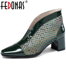 FEDONAS Square Toe New Women Square Heels Shoes Glitter