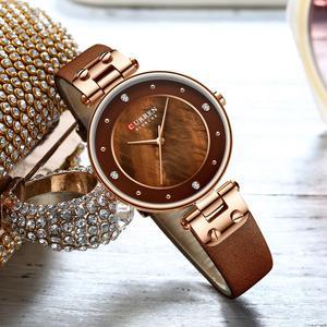 Image 2 - CURREN montre à Quartz Simple en strass, charmante, pour femmes, bracelet en cuir, horloge, collection montre pour femme