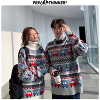 Privathinker Men Woman Casual Turtleneck Pullovers Sweater Female Thicken Warm Couple Jacquard Knitted Winter Clothing Sweaters