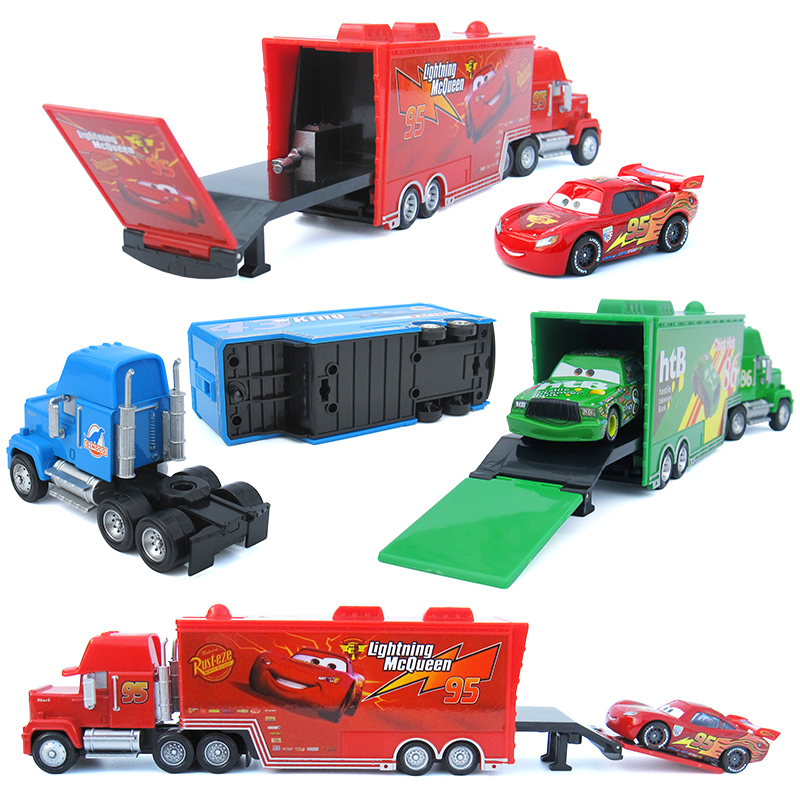 Disney Pixar Cars 2 Cars 3 Mack Truck +Small Car McQueen 1:55 Diecast Metal Alloy And Plastic Modle Car Toys Gifts For Children image