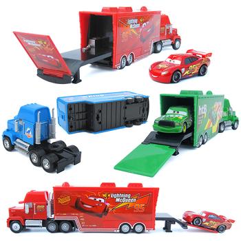 Samochody Disney Pixar 2 samochody 3 Mack Truck + mały samochodów McQueen 1 55 odlewane modele ze stopu metalu i tworzyw sztucznych model samochodu zabawki prezenty dla dzieci tanie i dobre opinie 3 lat Diecast Nazwa firmy Disney Cars toys Inne Samochód