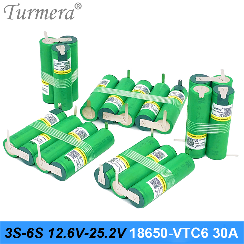 Turmera 3S 12.6V 4S 16.8V 5S 21V 18650 VTC6 Battery US18650VTC6 3000mah 6000mAh Battery 30A for Screwdriver Battery (Customize) image