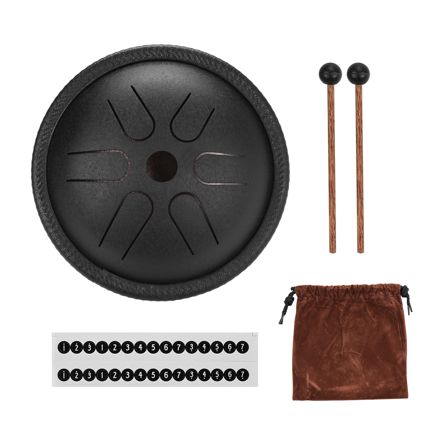 5.5 Inch Mini Steel Tongue Drum 6 Notes Handpan Drum Steel Pocket Drum Percussion Instrument with Mallets Carry Bag for Yoga