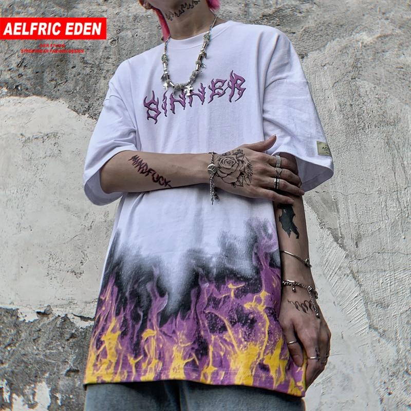 Aelfric Eden Oversize Hip Hop T Shirt Streetwear 2020 Fire Flame Butterfly Cotton Punk Rock T Shirt  Harajuku Short Sleeve Tees