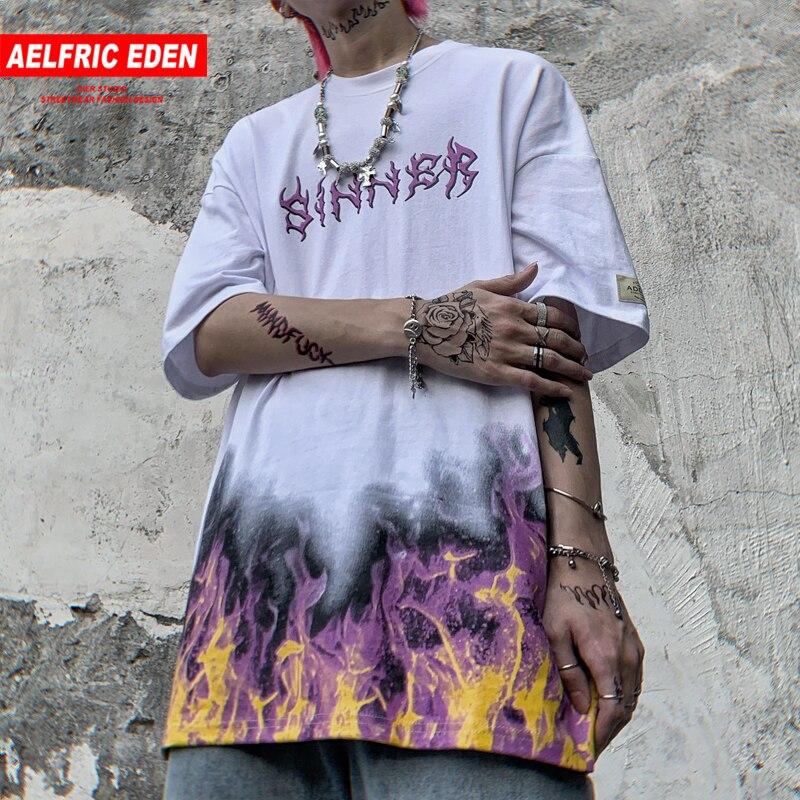 Aelfric Eden surdimensionné Hip Hop t-shirt Streetwear 2020 feu flamme papillon coton Punk Rock t-shirt Harajuku manches courtes t-shirts