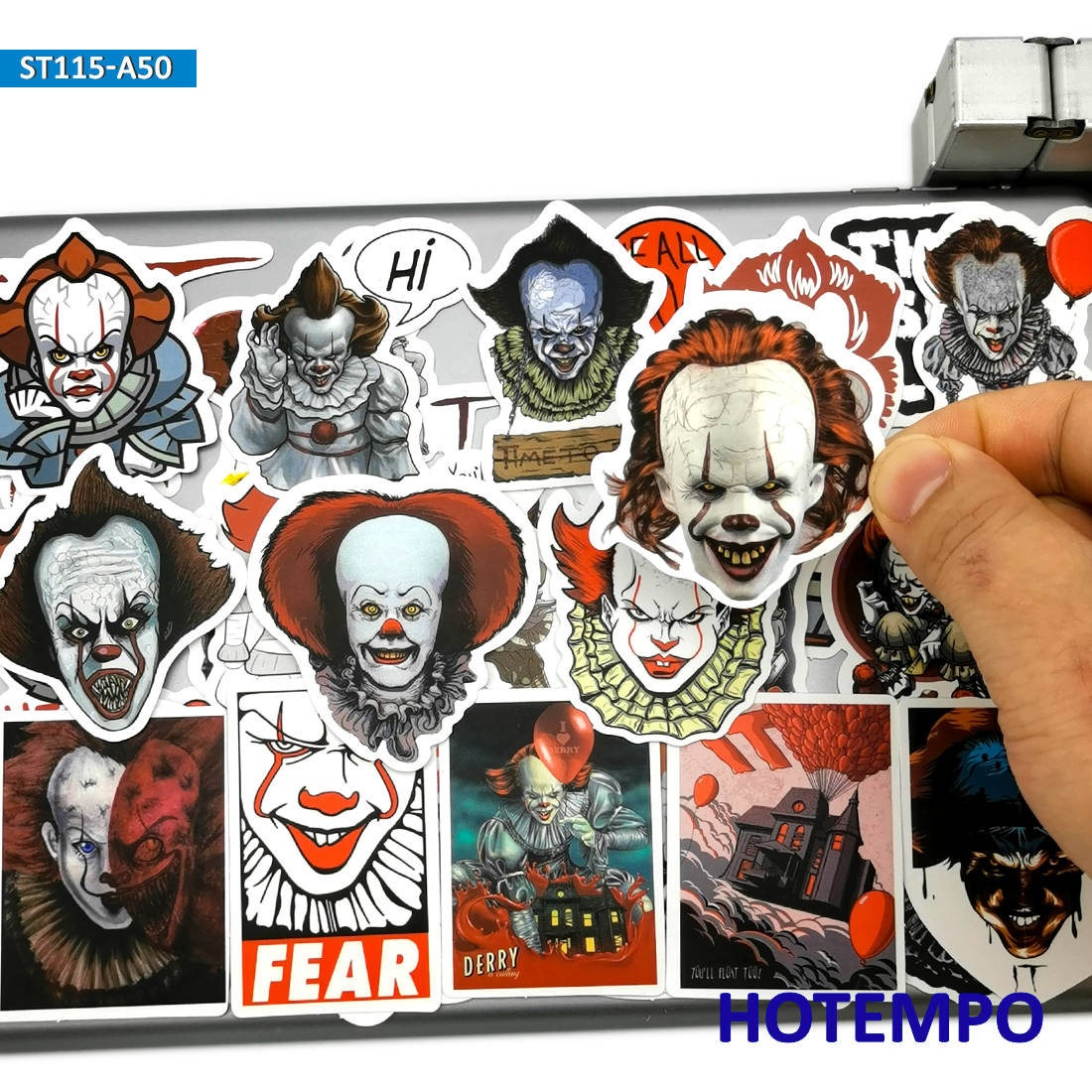 50pcs Horror Movie IT Terror Clown Ghost Joker Anime Style Stickers For Mobile Phone Laptop Suitcase Pad Skateboard Bike Sticker