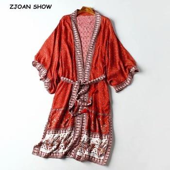 2020 otoño BOHO cuello en V Floral rojo estampado camisa Kimono borla con lazo fajas manga larga vacaciones blusa suelta rojo