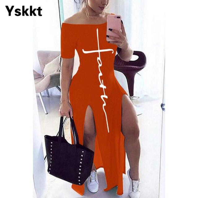 Bodycon Dress Short Sleeve Maxi Dresses for Women Off Shoulder Spring Summer Plus Size Casual Long Boho Dress Vestido Feminino 5