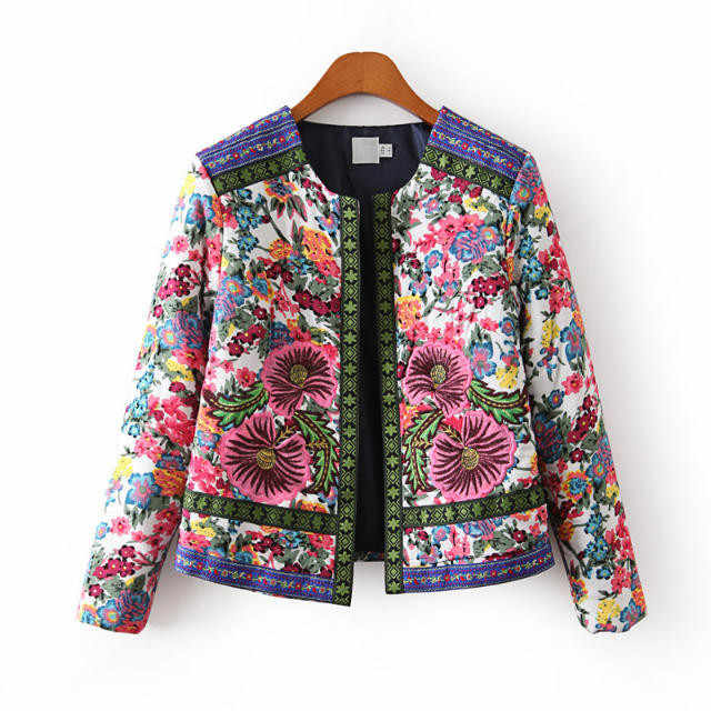 New Autumn Winter Women Floral Jacket Outerwear Vintage Women Lady Ethnic Standing Collar Embroidered Slim Parkas Coat Outwear