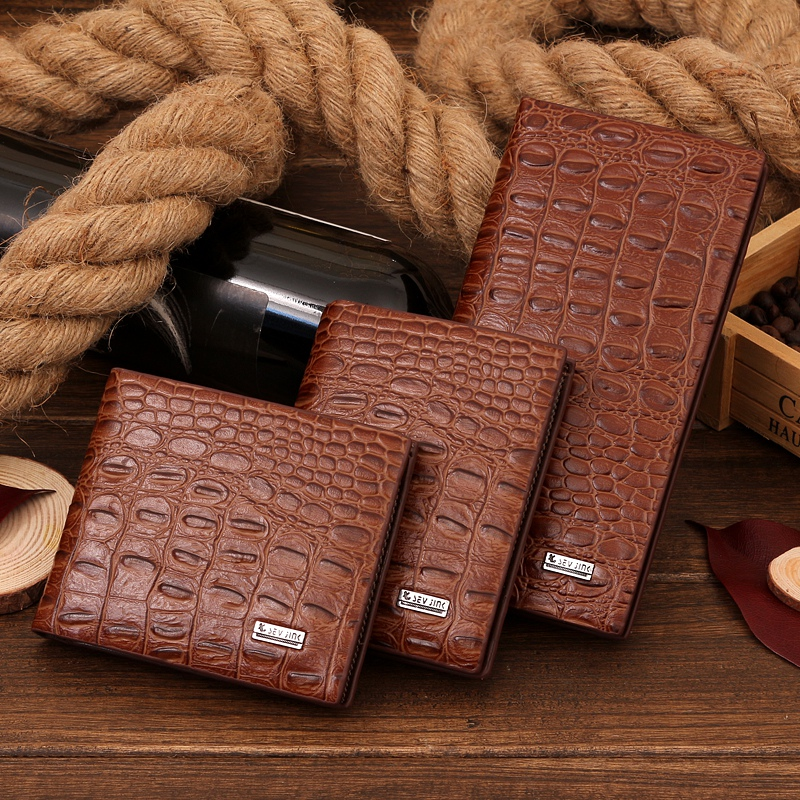 Wallets For Men Short Long Slim Thin Crocodile Pattern Luxury Leather Card Clutch Purse  Wallet