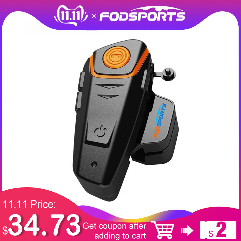 1 Pc Fodsports Motorcycle Bluetooth Helmet Intercom Moto Headset 1000m Waterproof IPX6 BT-S2 Motorbike BT Interphone FM Soft Mic