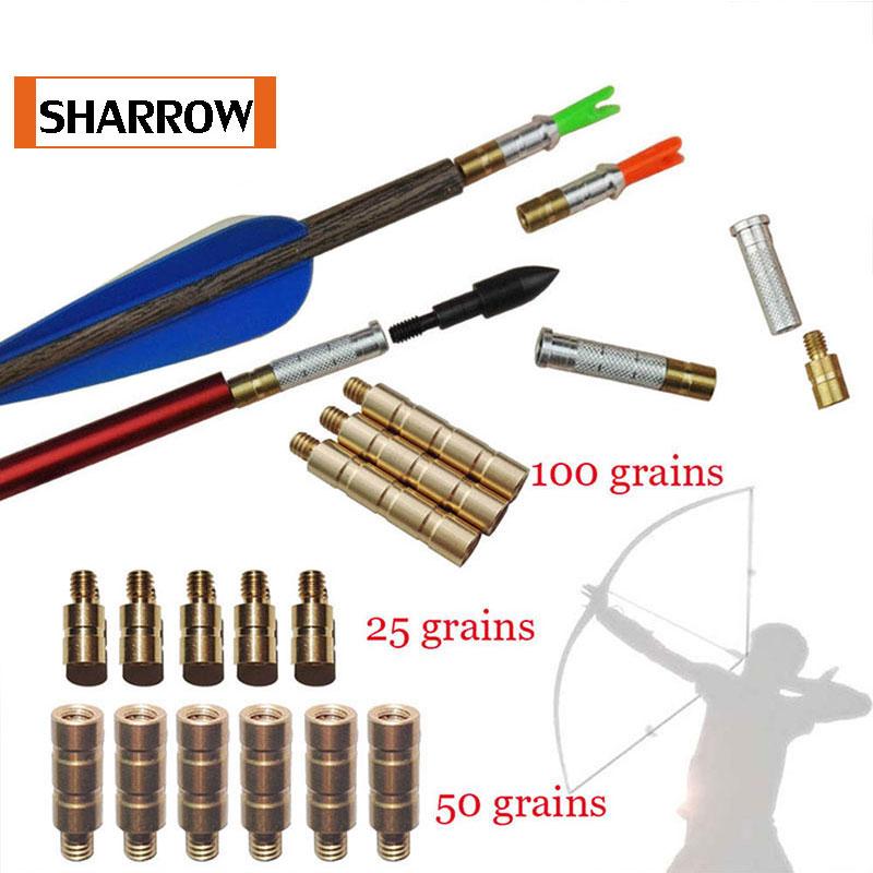 12 Pcs 25/50/100 Grains Additional Weight Bob-weight Counterweight Balancer Use Aluminum Arrow Insert To Balance Arrow Weight