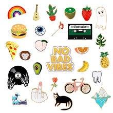 Moda arco-íris esmalte lapela dos desenhos animados pinos frutas alimentos mix broches emblemas mochila bonito pinos presentes para amigos jóias por atacado