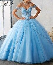 2021 azul claro querida quinceanera vestido de baile cristal tule miçangas fenda frente strapless vestidos de 15 anos
