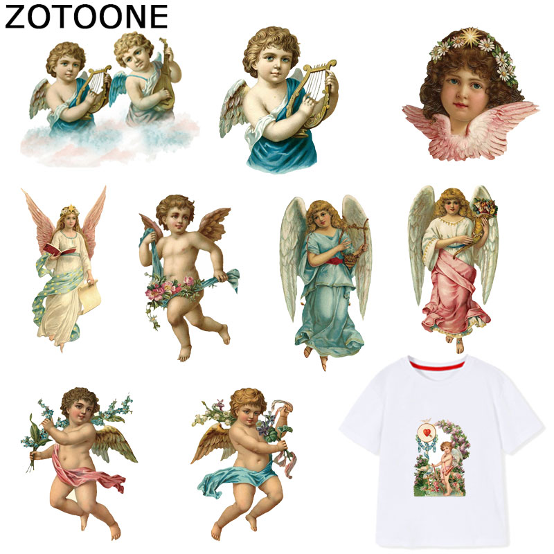 ZOTOONE Cute Angel Iron on Patches Cupid Stickers Transfers for Clothes T-shirt Heat Transfer Sticker DIY Accessory Appliques F1