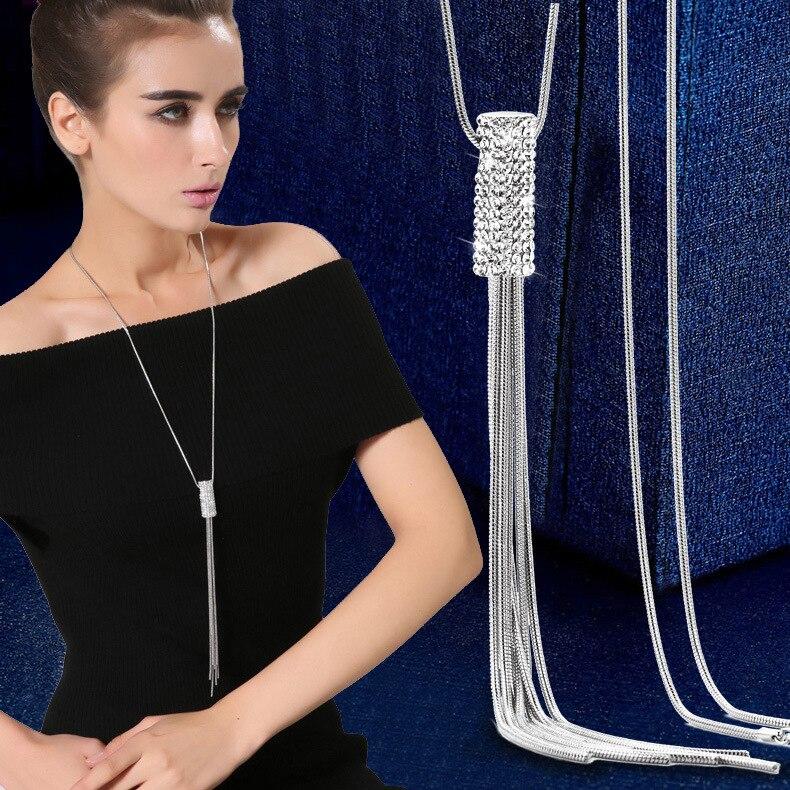 2021 Новое эффектное Ожерелье Стразы с кисточкой и цветком розы Женские кулоны Модные ювелирные изделия цепочка на свитер ожерелья подарки