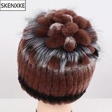 Nova chegada inverno senhora bom elástico real rex pele de coelho beanies chapéus feminino grosso quente 100% natural chapéu de pele de malha boné de pele real