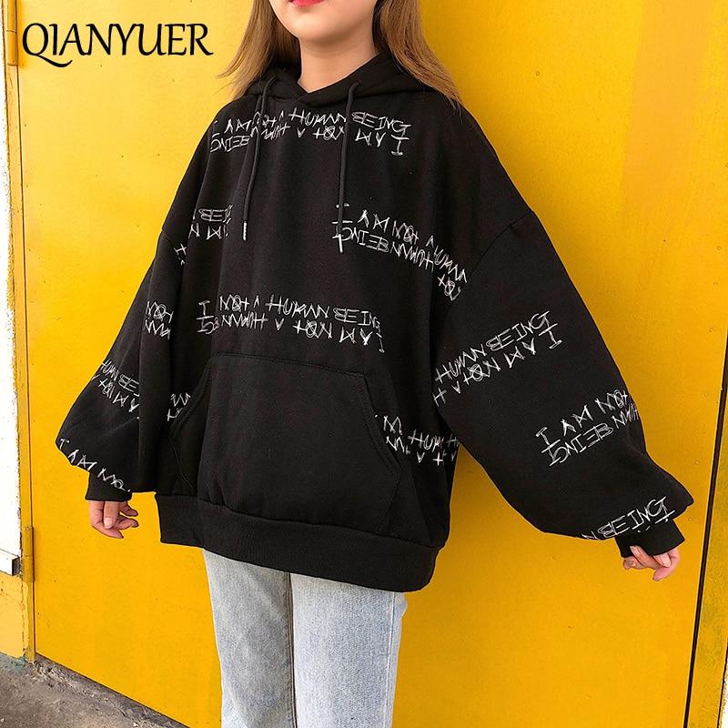 Ulzzang Winter Women's Sweatshirt Harajuku Letter Printing Hooded Sweatshirt Boyfriend Long-sleeved Loose Pullovers Sweatshirt
